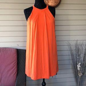 Tart Orange High Neck Shift Summer Dress